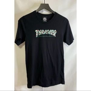 Thrasher Black Rose and Thorn Pattern Tee Size S